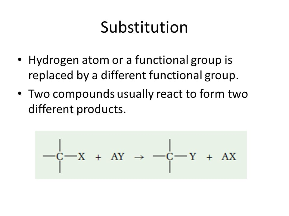 Substitution Hydrogen atom or a functional group is replaced by a different functional group.