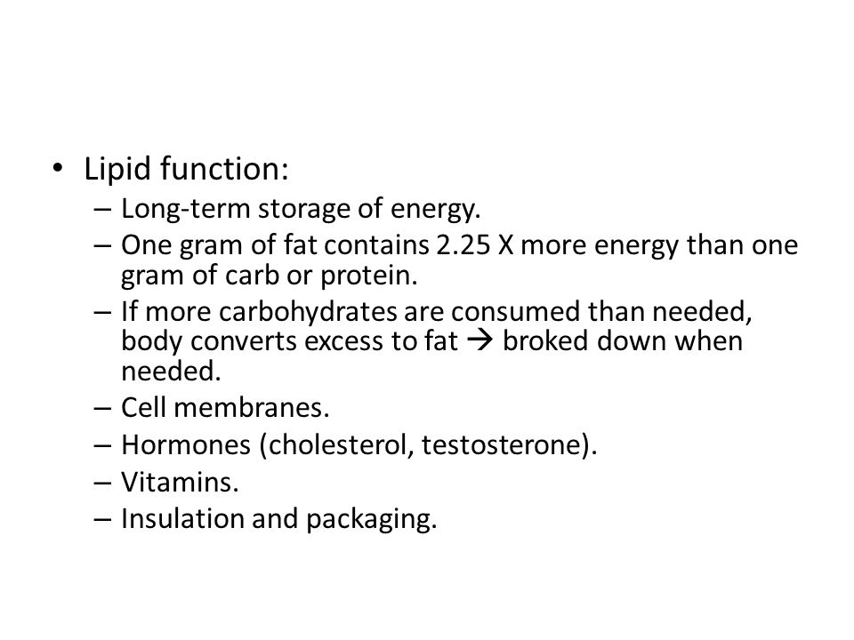 Lipid function: Long-term storage of energy.