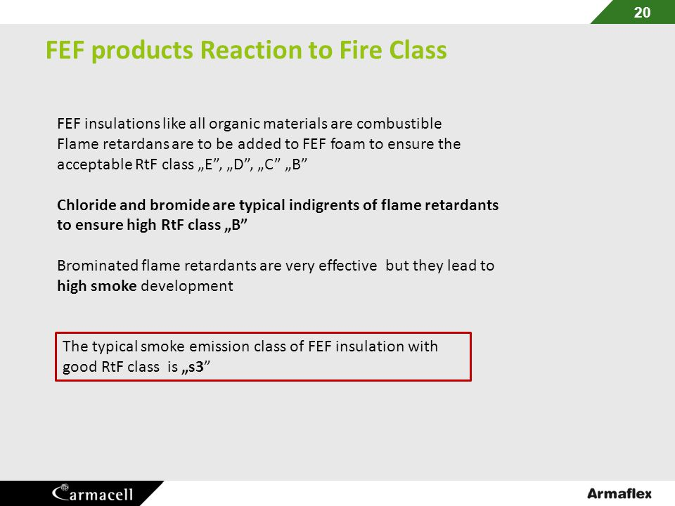 FEF products Reaction to Fire Class
