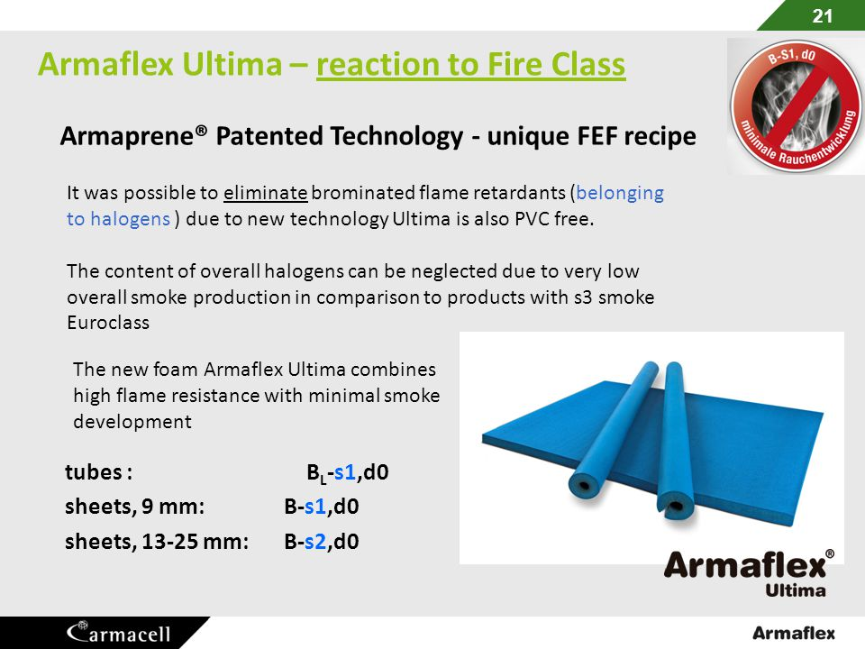 Armaflex Ultima – reaction to Fire Class