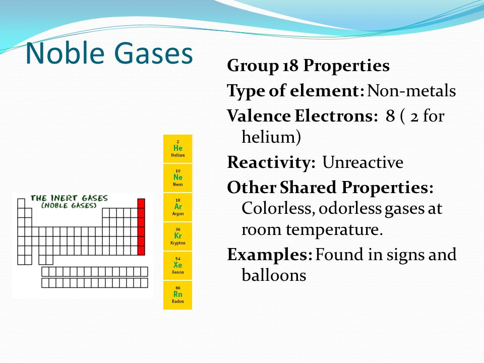 Noble Gases Group 18 Properties Type of element: Non-metals