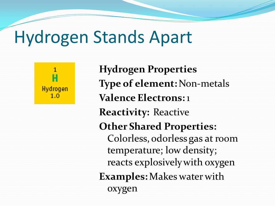 Hydrogen Stands Apart Hydrogen Properties Type of element: Non-metals