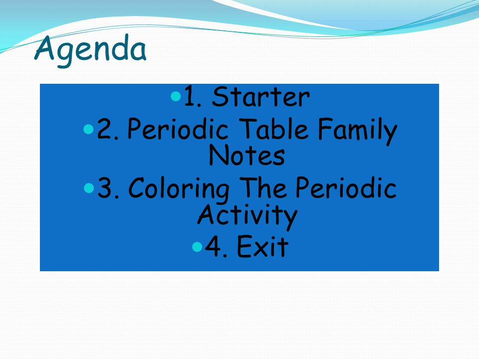 Agenda 1. Starter 2. Periodic Table Family Notes