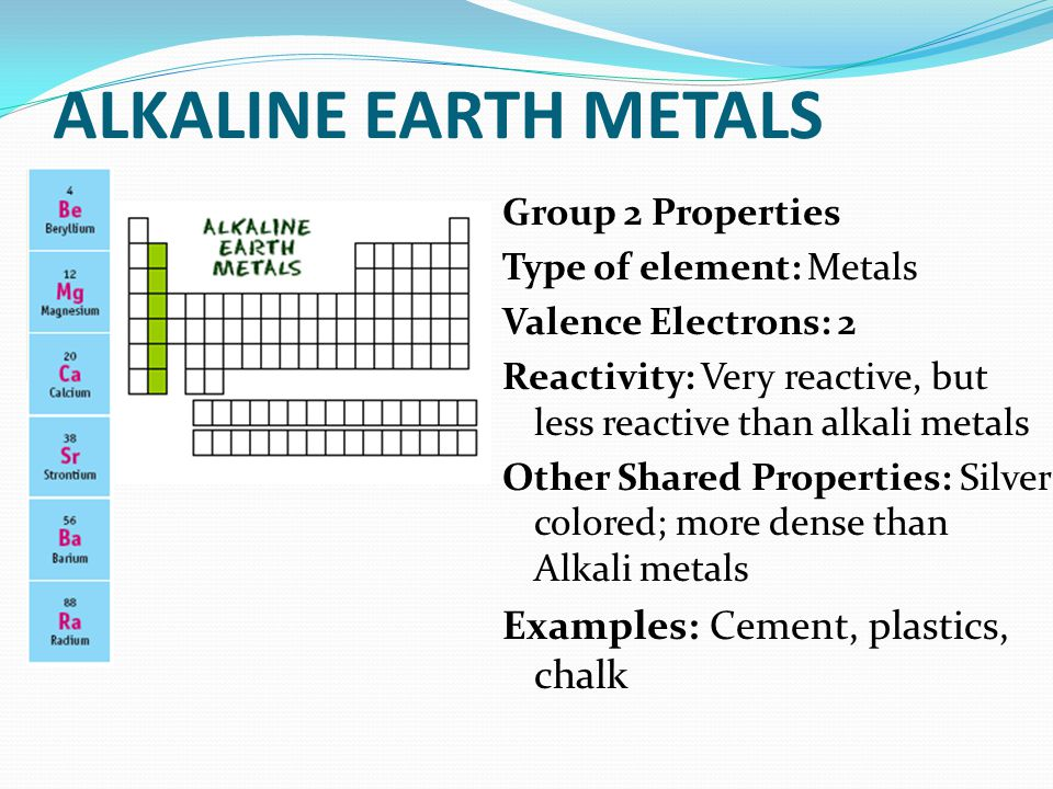 Describe how the following non metals are important to living 9 alkaline earth urtaz