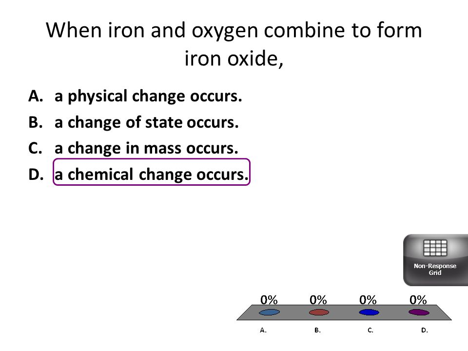 When iron and oxygen combine to form iron oxide,