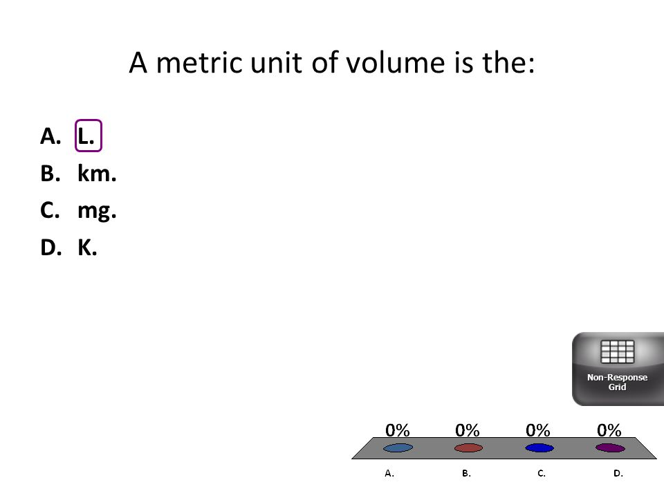 A metric unit of volume is the: