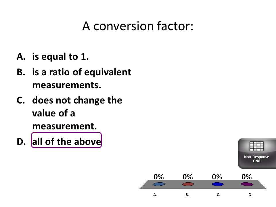 A conversion factor: is equal to 1.