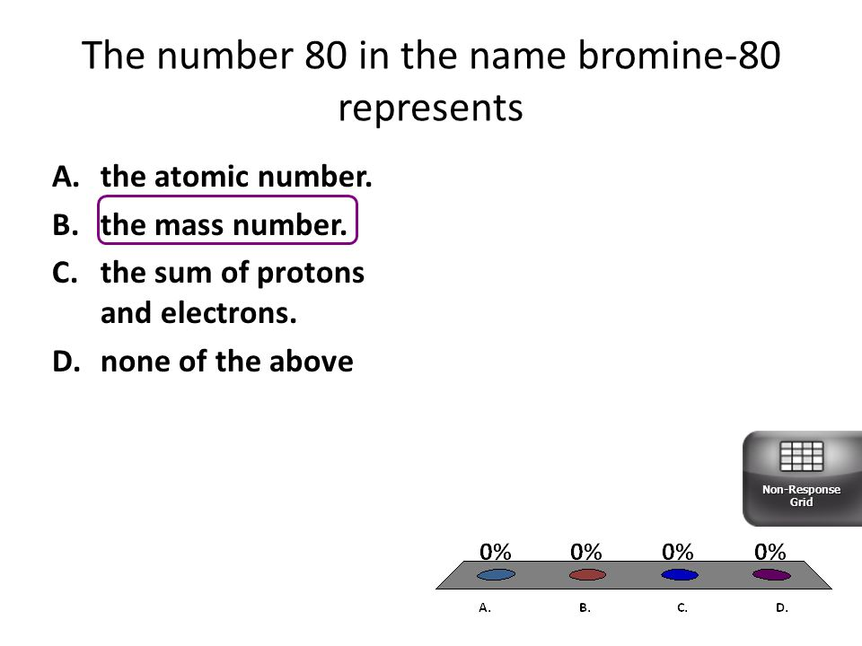 The number 80 in the name bromine-80 represents