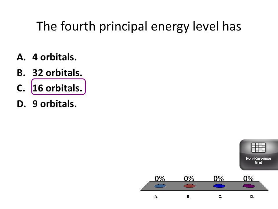 The fourth principal energy level has