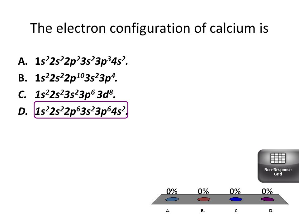 The electron configuration of calcium is