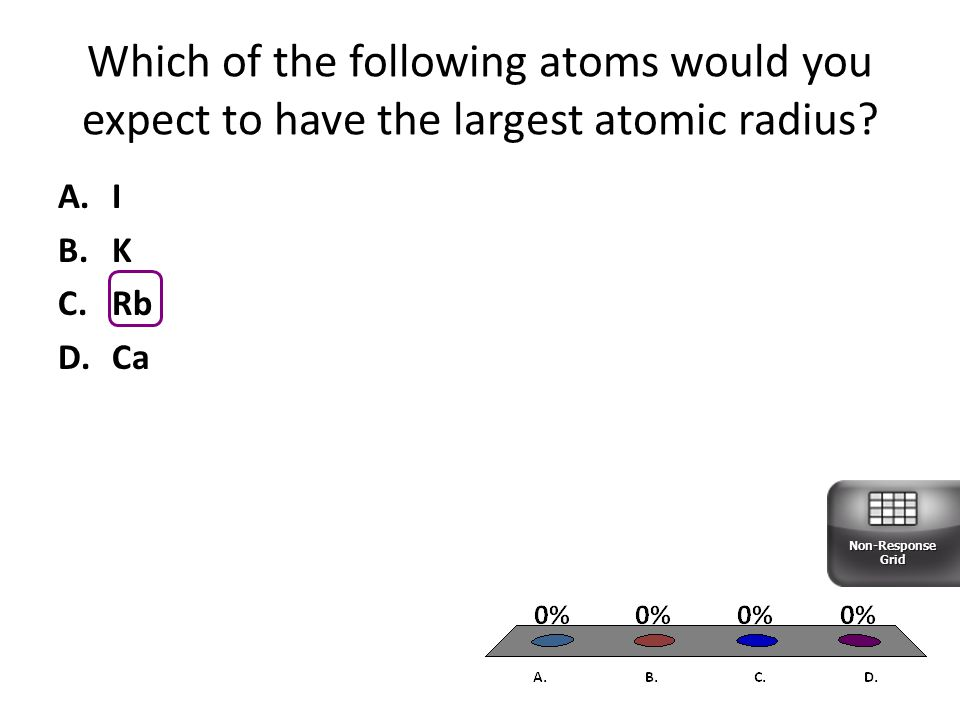 Which of the following atoms would you expect to have the largest atomic radius