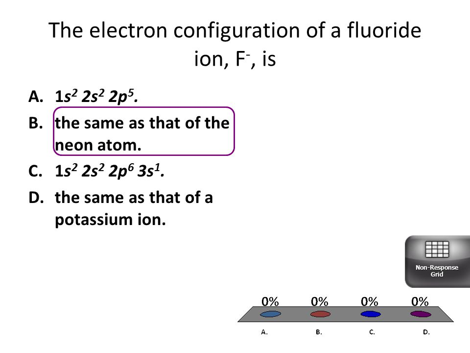 The electron configuration of a fluoride ion, F-, is