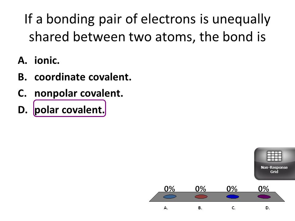 If a bonding pair of electrons is unequally shared between two atoms, the bond is
