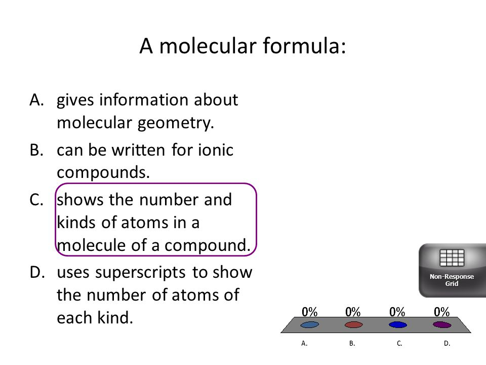 A molecular formula: gives information about molecular geometry.