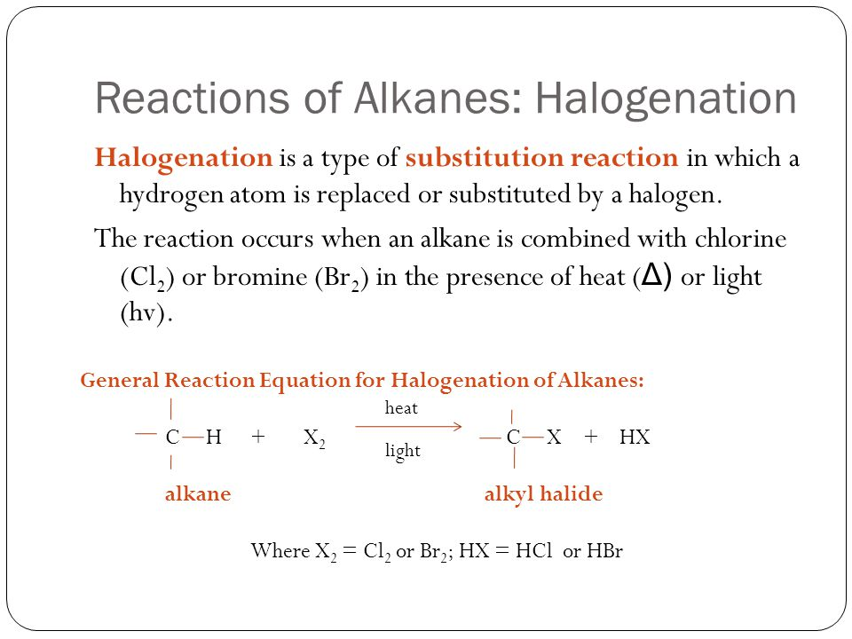 Reactions of Alkanes: Halogenation