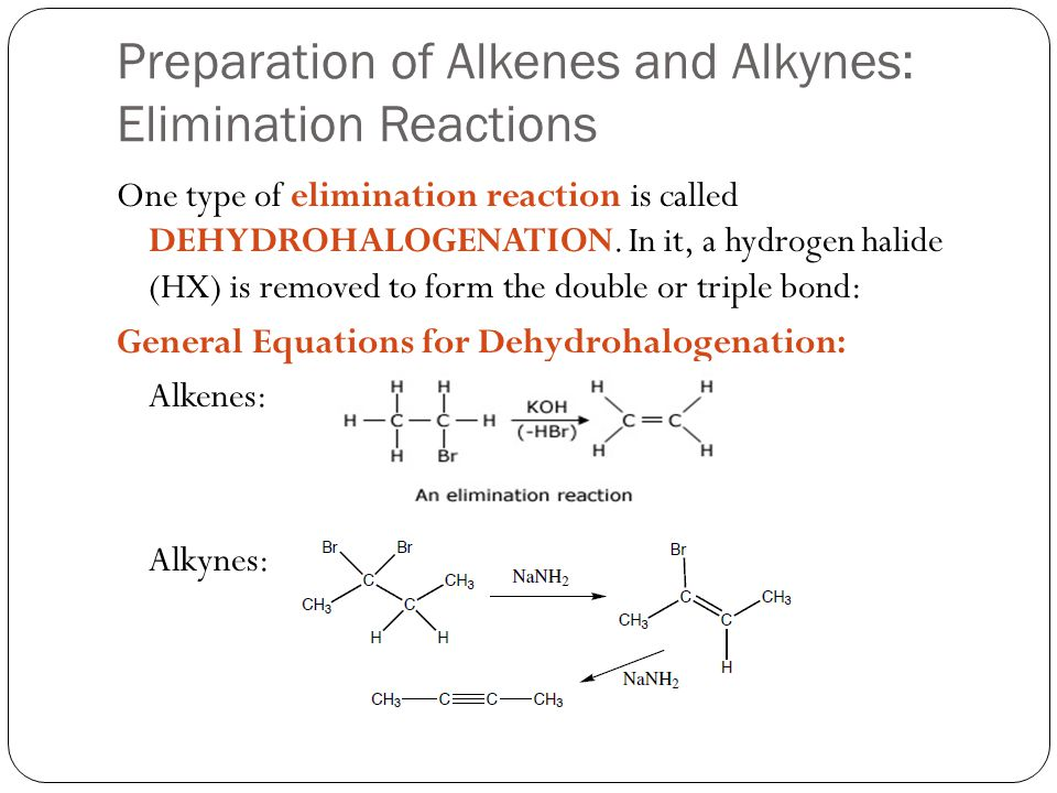 Preparation of Alkenes and Alkynes: Elimination Reactions