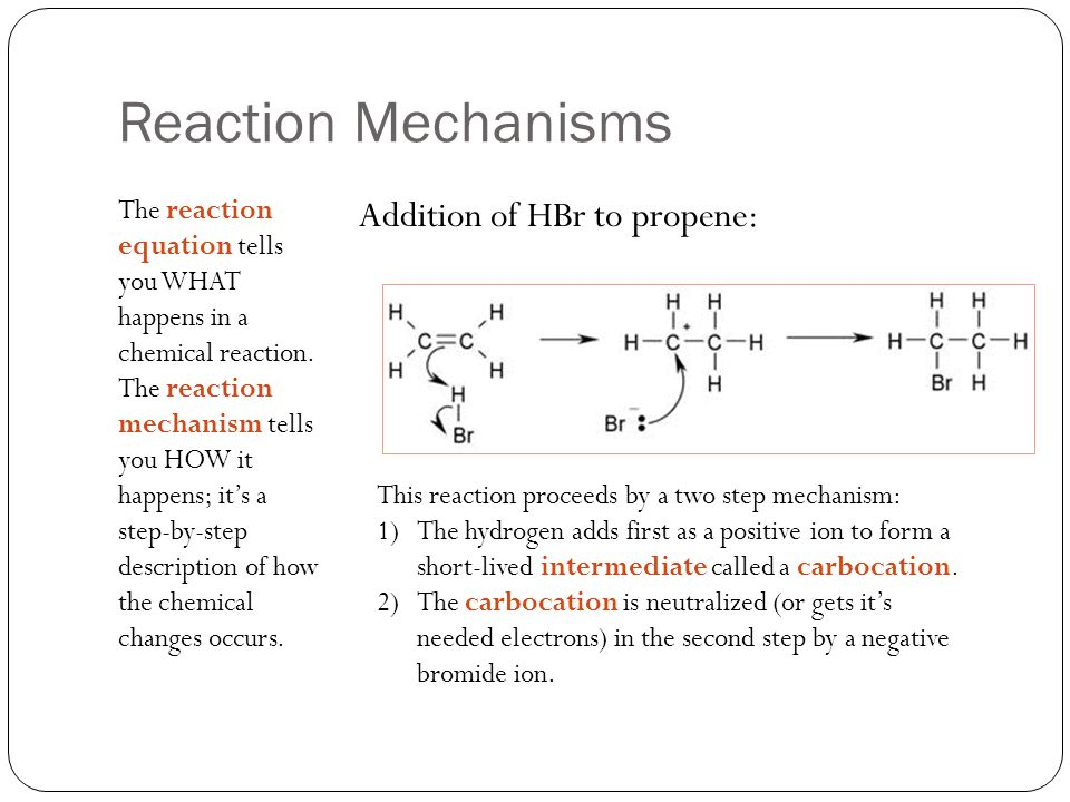 Reaction Mechanisms Addition of HBr to propene: