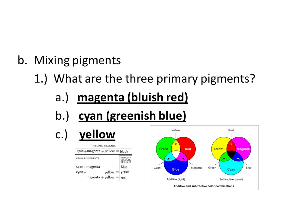 Mixing pigments 1.) What are the three primary pigments a.) magenta (bluish red) b.) cyan (greenish blue)