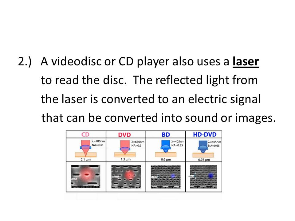 2. ) A videodisc or CD player also uses a laser to read the disc