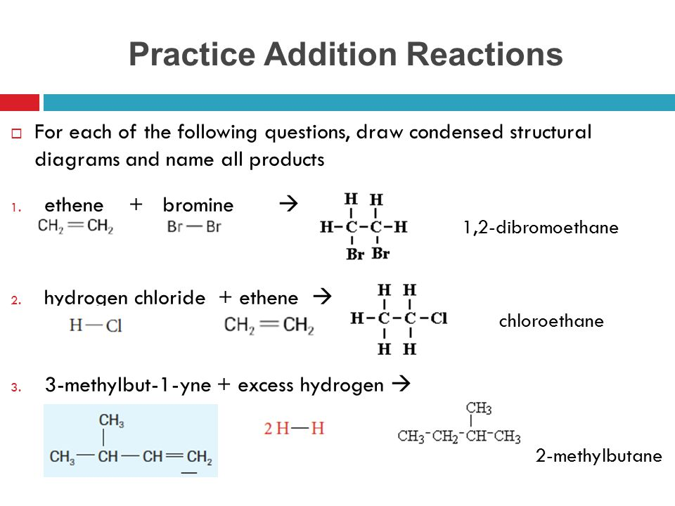 Practice Addition Reactions
