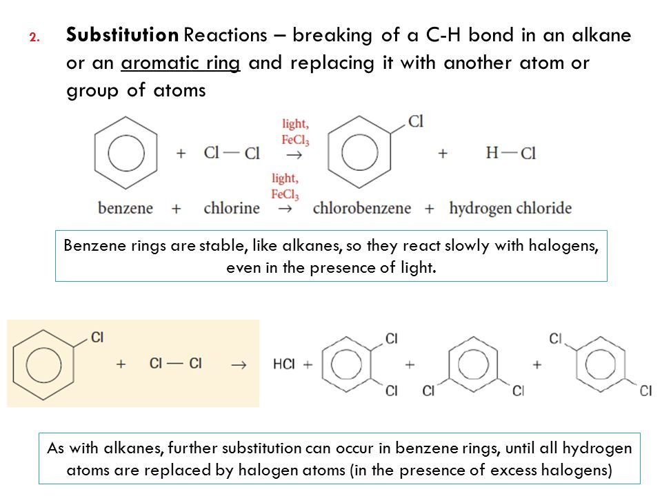 Substitution Reactions – breaking of a C-H bond in an alkane or an aromatic ring and replacing it with another atom or group of atoms