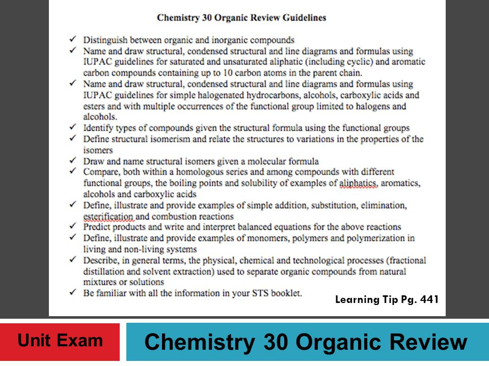 Chemistry 30 Organic Review