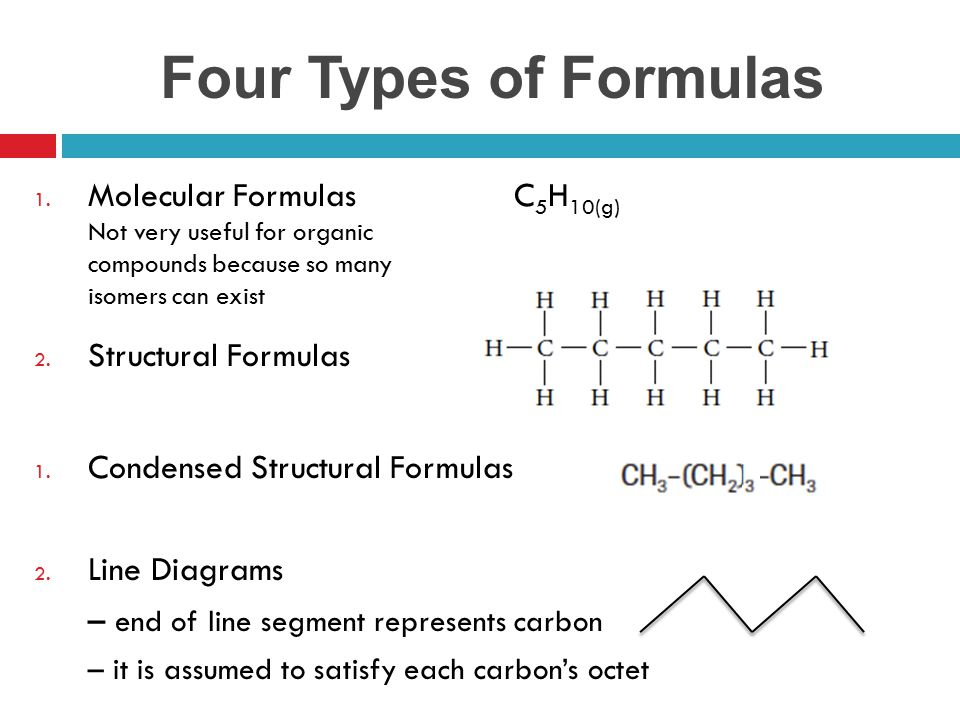 Four Types of Formulas Molecular Formulas C5H10(g) Not very useful for organic compounds because so many isomers can exist.