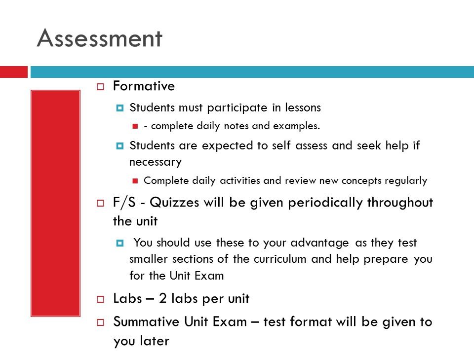 Assessment Formative. Students must participate in lessons. - complete daily notes and examples.