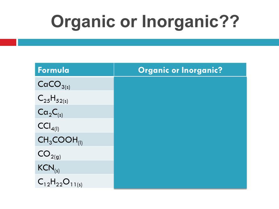 Organic or Inorganic Formula Organic or Inorganic CaCO3(s)