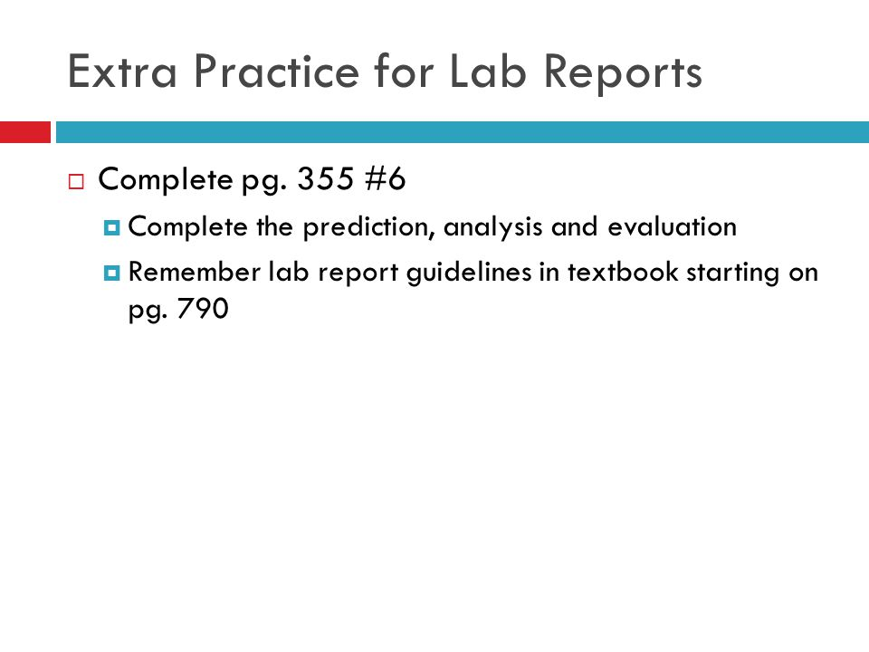 Extra Practice for Lab Reports