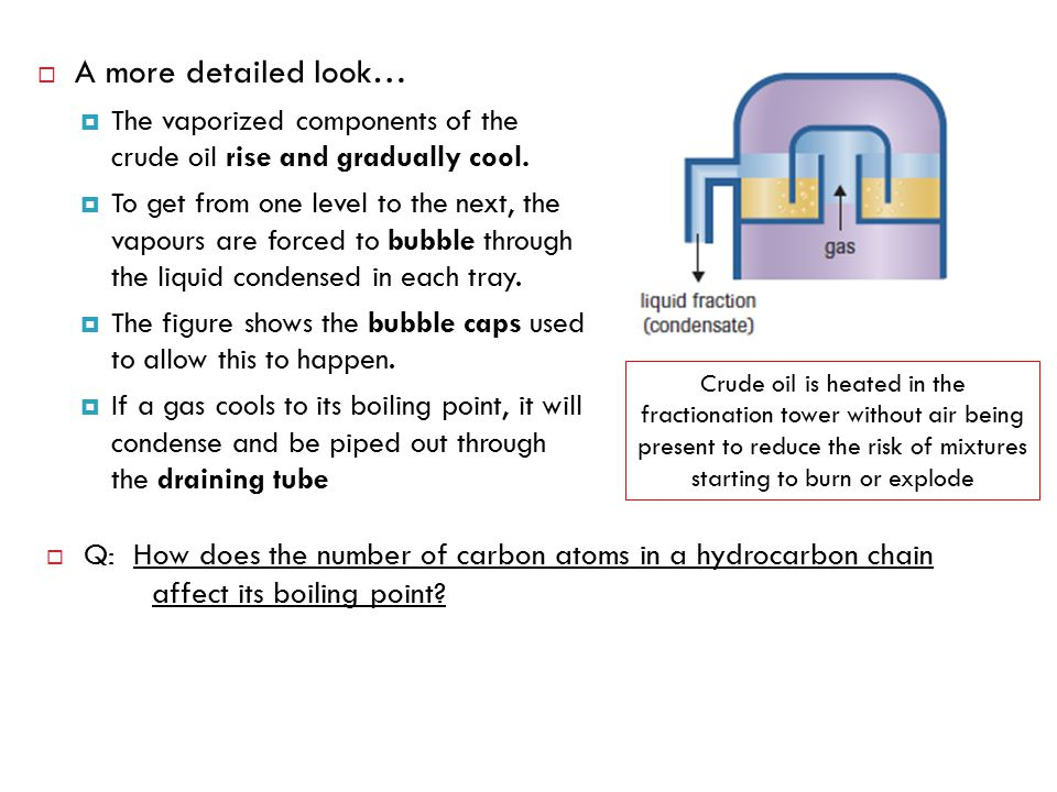 A more detailed look… The vaporized components of the crude oil rise and gradually cool.