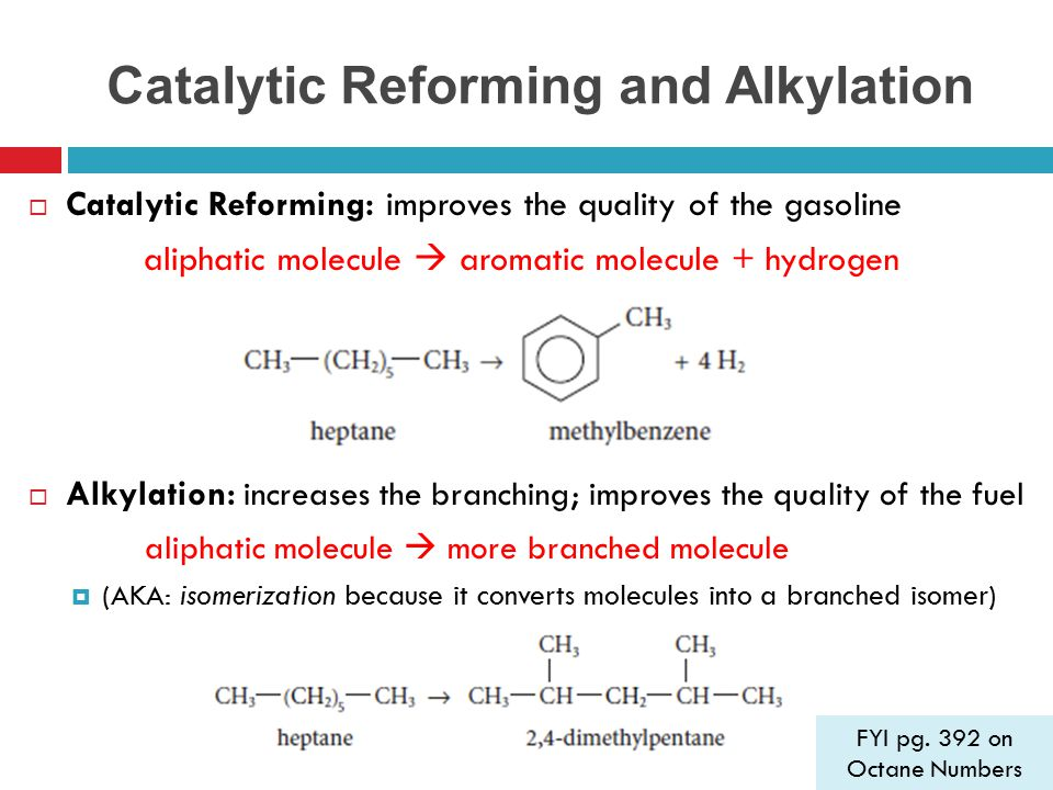 Catalytic Reforming and Alkylation