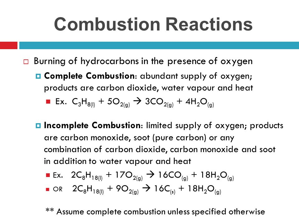 Combustion Reactions Burning of hydrocarbons in the presence of oxygen