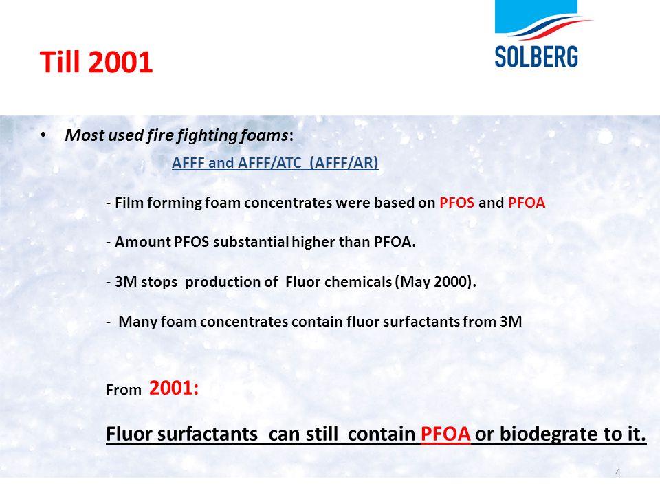 Till 2001 Most used fire fighting foams: