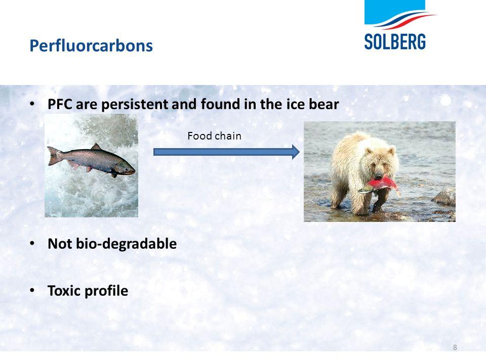 Perfluorcarbons PFC are persistent and found in the ice bear