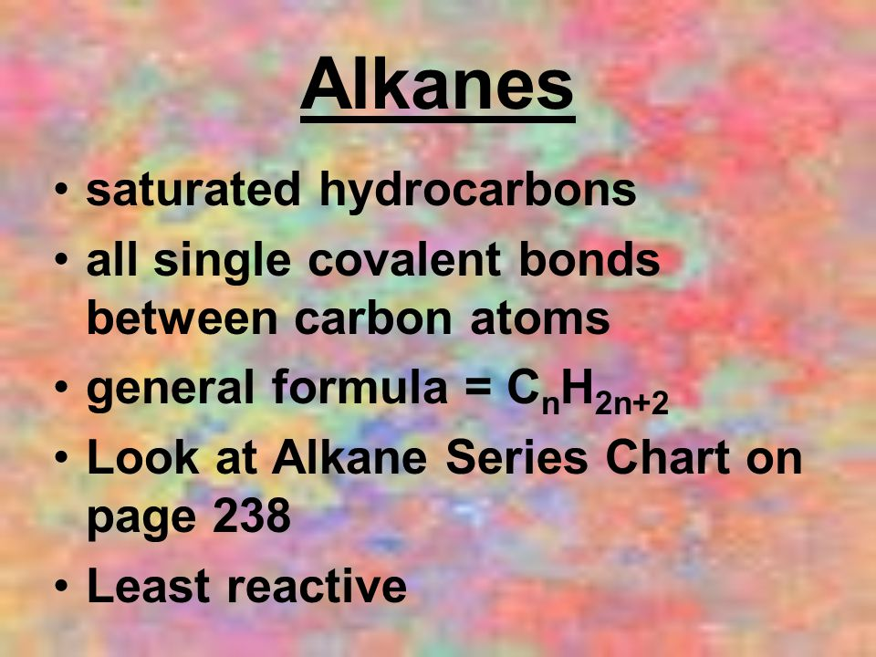 Alkanes saturated hydrocarbons