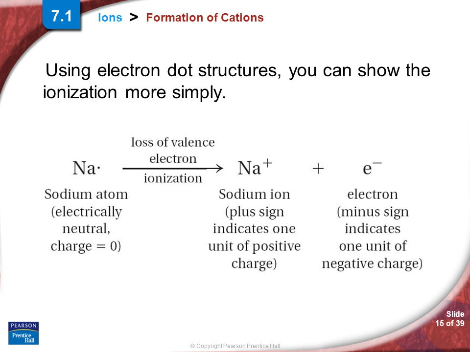 7.1 Formation of Cations Using electron dot structures, you can show the ionization more simply.