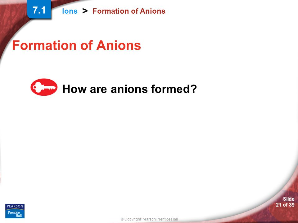 7.1 Formation of Anions Formation of Anions How are anions formed