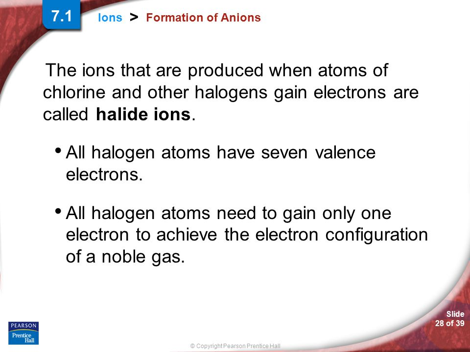All halogen atoms have seven valence electrons.
