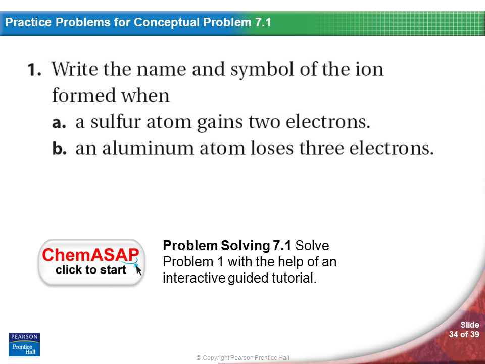 Practice Problems For Conceptual Problem 7.1