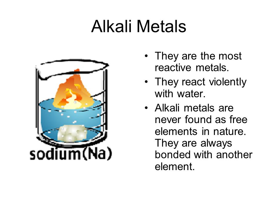 Alkali Metals They are the most reactive metals.