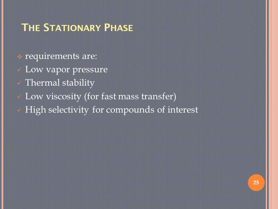 The Stationary Phase requirements are: Low vapor pressure