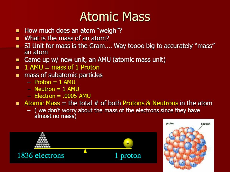 Atomic Mass How much does an atom weigh