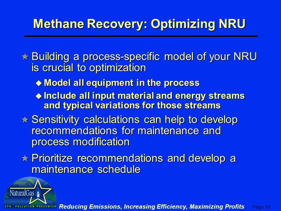 Methane Recovery: Optimizing NRU