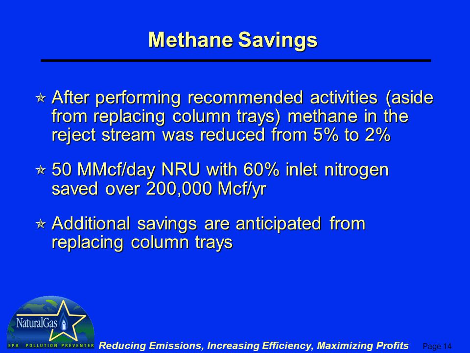 Methane Savings After performing recommended activities (aside from replacing column trays) methane in the reject stream was reduced from 5% to 2%