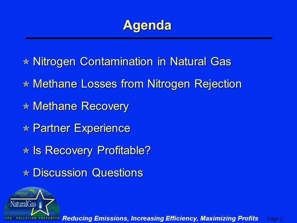 Agenda Nitrogen Contamination in Natural Gas
