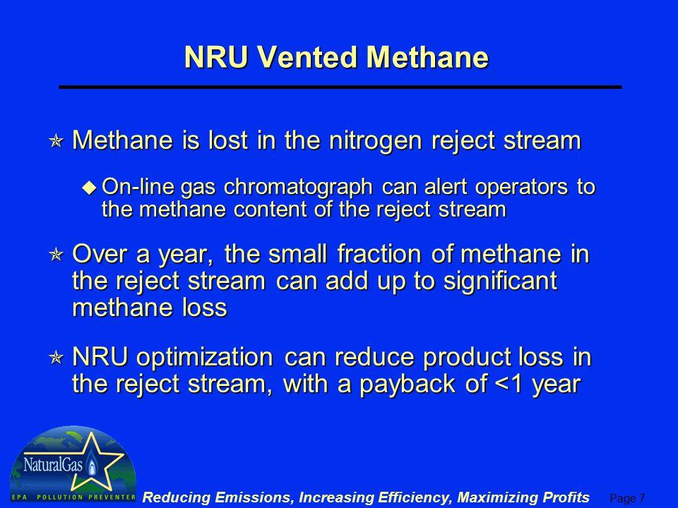 NRU Vented Methane Methane is lost in the nitrogen reject stream