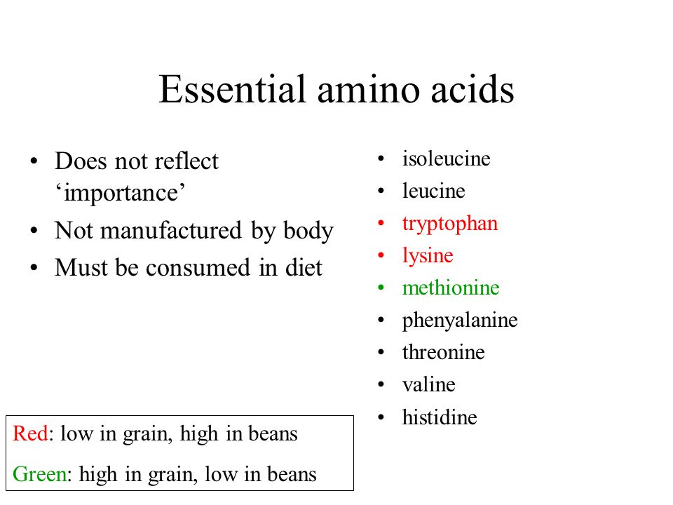 Essential amino acids Does not reflect 'importance'