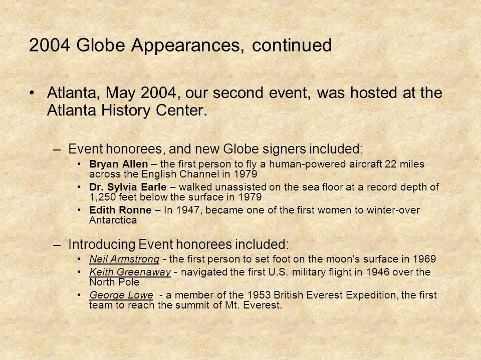 2004 Globe Appearances, continued