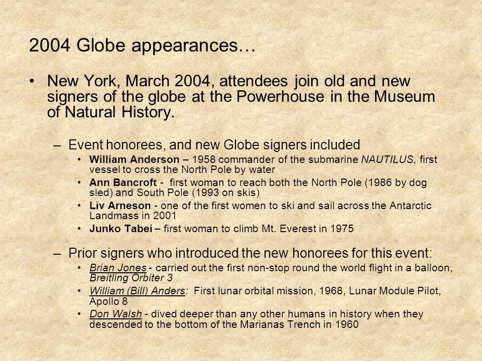 2004 Globe appearances… New York, March 2004, attendees join old and new signers of the globe at the Powerhouse in the Museum of Natural History.